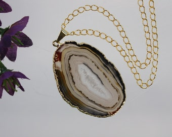 Black Agate Pendant, Agate Necklace, Agate Slice, Boho Jewelry, Gold Plated Agate, Layered Necklace, Boho Necklace, APS93