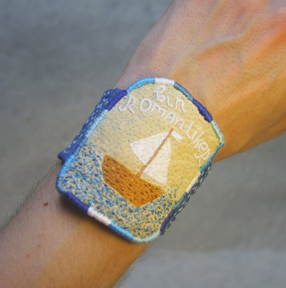 SALE! Textile Bracelet - I'm romantic - bin Romantiker (german) - maritime for him, hand embroidery unique jewellery