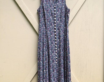 90s vintage Sleeveless Ditsy Floral Print Button Front Long Dress