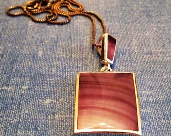 NECKLACE  - Purple - BANDED AGATE  - Sterling Silver -  18  Inch Chain -     necklace240
