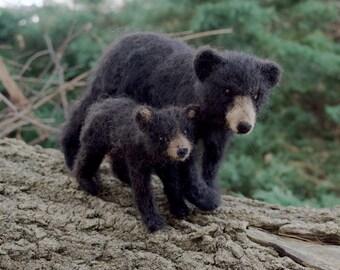 Black Bear Mom and Cub, Needle felt