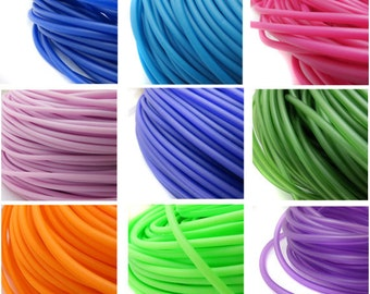 3mm PVC Tubing 3 Mtr length hollow rubber cord for jewellery making, rubber tubing, hollow PVC cord - Choice of 10 Colours jewelry tubing UK