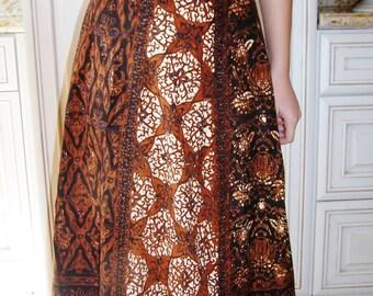 Wrap Skirt, Batik skirt, Brown cotton skirt, Brown wrap skirt, size S