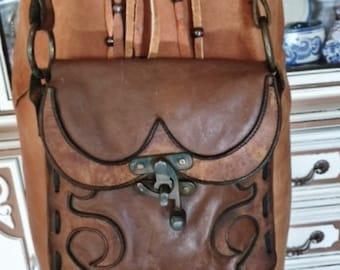 Leather Bag 70s Hippie bag