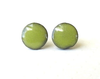 Small Green Earrings. Greenery. Mini Studs. Round. Lime Green. Yellow Green. Olive Green. Black Porcelain. Ceramic. Post Earrings. Simple