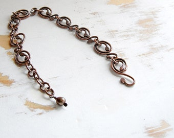 Copper Chain Bracelet, Art Nouveau Jewelry, Dainty Bracelet, Vintage Style Jewellery, Handmade Bracelet, Simple Jewellery, Hand Forged