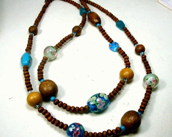 Sweet Wood Bead 2 Strand Necklace w Aqua Turquoise Glass Flower Bead Accents, Adjustable Length