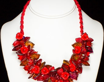 Hot Tamale! Red Necklace, Handmade Glass Jewelry