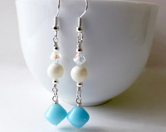Light Blue Glass White Pearl Formal Dangle Earrings, Light Reflecting Clear Crystal Accents, Bridal Something Blue Silver Surgical Steel