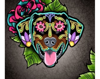 Doberman - Floppy Ear Edition - Day of the Dead Sugar Skull Dog Art Print - 8 x 10 - Prints for Pits Rescue Donation
