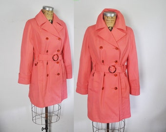 PINK Trench Coat Jacket Spy / Medium