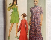 """Simplicity 9080 Vintage 1970 dress sewing pattern, size 16, Bust 38"""""""