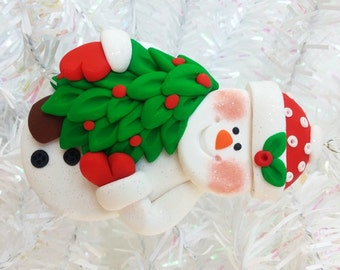 Snowman Christmas Ornament - Snowman Collector Gift - Snowman with Christmas Tree Ornament - Keepsake Ornament - 319168