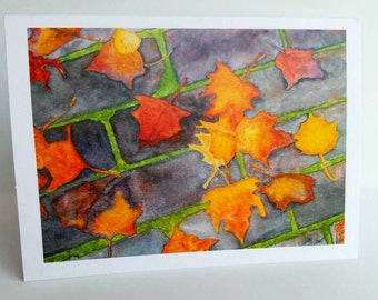 Autumn Leaves Watercolor Note Cards: Set of 8 Greeting Cards Thank You Blank Inside Cards All Occasion Cards