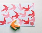 swallow silhouette stamp. bird hand carved rubber stamp. woodland animal stamp. wedding bird stamp. birthday card making. spring crafts. no3