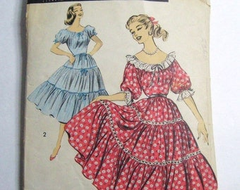Vintage 50s Peasant Prairie Dress Pattern Advance 8393, Off Shoulder Drawstring Bodice, Tiered Full Skirt, Short Puff or 3/4 Sleeve, Bust 34