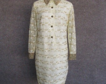60s Mini Dress Beaded Lace Mod Vintage, Pastel Yellow, Long Sleeves, Bead Encrusted Pointed Collar & Cuffs, Cocktail Party, Bust 34 35