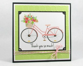 Thank you cards, embossed thank you cards, with thanks, thank you greeting cards, bike, bicycle, thank you note, flowers