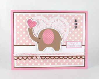 Valentines card, valentines day card, baby girls 1st valentines day, first valentines card, elephant, personalized card