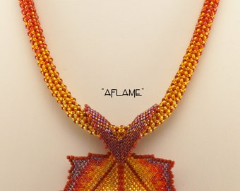 Aflame Maple Leaf Beaded Necklace