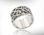Reserved Item-Sterling Silver Wedding Band, with 9k rose gold scroll design- size 5 -Free Shipping