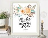 "Printable Wall Art digital download Bible verse inspirational Scripture Print home decor ""She is far more precious than jewels"" ArtCult"