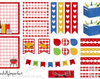 BBQ Picnic stickers for Erin Condren Life Planners