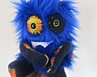 Plush Monster Mini in Royal Blue Faux Fur Hand Embroidered Handmade Plushie Stuffed Toy Stuffie Soft and Huggable