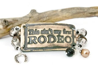 Cowgirl Rodeo Bracelet, Brown and Black, Western Jewelry, Rodeo Jewelry, Ceramic Beads, Ceramic Cuff Bracelet, 2 Strand Cuff Bracelet