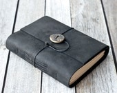 Black Leather Journal with Ceramic Button Closure
