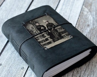 Tin Type Black Leather Journal, Antique Photo Guestbook