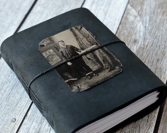 Black Leather Journal with Antique Photo, Tin Type Guestbook