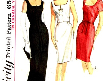 Size 20 Slim Wiggle Cocktail Dress Deep Scoop Neckline Long Length Maxi Misses Vintage 1960s Simplicity 5706 Plus Sewing Pattern Bust 40