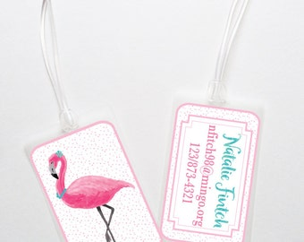 Personalized Luggage Bag Tag- Pink Flamingo