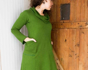 Denver Passport Pocket Cowl Neck Dress - Hemp and Organic Cotton Fleece or French Terry - Eco Fashion - Made to Order Choose Your Color