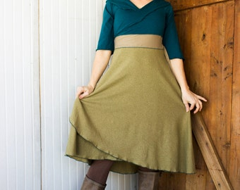 Harvest Queen Wrap Dress - 3/4 Sleeve - Hemp and Organic Cotton - Several Colors to Choose From - Made to Order