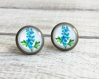 Hyacinth Earrings, Vintage style antique bronze studs, Blue Hyacinth Flowers set on bright white background, floral studs, Vintage Bride