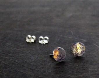 Harvest Moon Earrings, 24k Gold on Oxidized Recycled Sterling Silver, Post Earrings, Zen Earrings