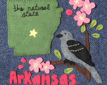 Arkansas Wool Felt Applique Digital Pattern - United States Quilt