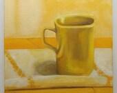 yellow mug still life oil painting 8x8 small art