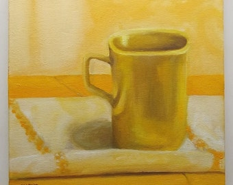 yellow mug still life oil painting 8x8 small art  kitchen wall decor