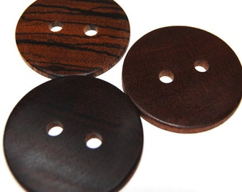 Large Wooden Buttons, Exotic Wood Buttons, Natural Wooden Buttons, Three Handmade Wood Buttons, 1 7/8 Inches (48 mm)