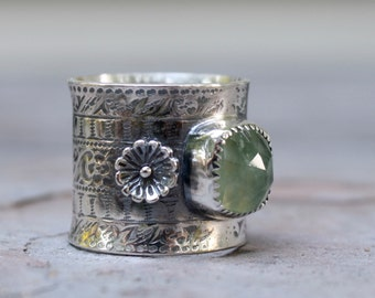 Sterling Silver Boho Ring with Prehnite, Sterling Silver Ring Wide - US Size 7