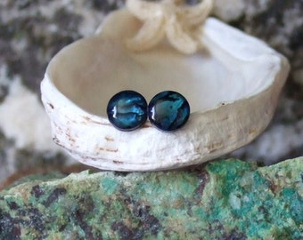Longer Posts Blue Paua Shell Stud Earrings Earings Titanium Posts and Clutches Handmade in Newfoundland 6mm Round Hypo Allergenic