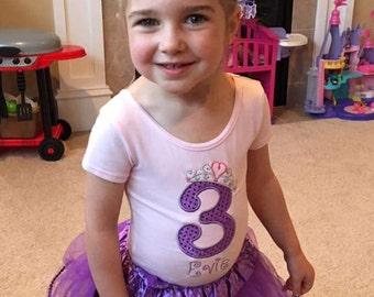Birthday Princess Dance Gymnastics Ballet Leotard Custom Name Girls Toddler Personalized Appliqued Embroidered