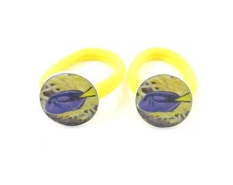 2 Blue Tang Fish Ponytail Elastics. Handmade Button Accessory. Medium Size Elastic.