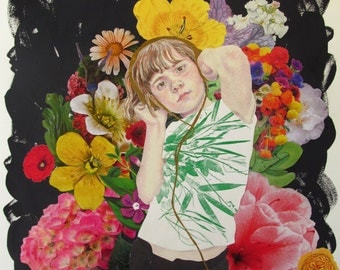 Girl With Flowers- Original Mixed Media Drawing and Collage on Paper