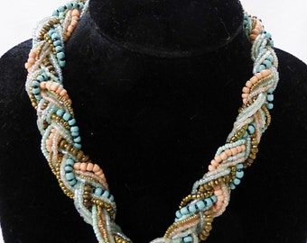 Vintage multi strand necklace twisted plastic beads pastel colors