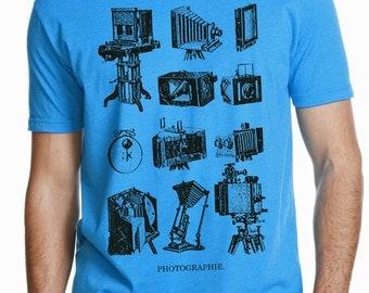 photographer shirt - photographer gift - photography gifts - mens tshirt - camera shirt - gift for men - mens shirts -PHOTOGRAPHIE-crew neck