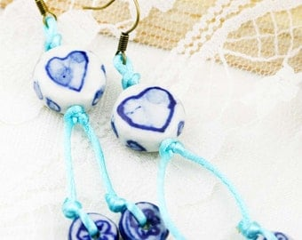 Kindness and compassion earrings - Chinese porcelain